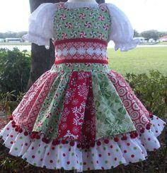 Items similar to Custom Boutique Christmas Red Green Holiday Pom Pom Dress Girl 2 3 4 5 6 7 8 on Etsy Frilly Dresses, Dog Dresses, Pretty Dresses, Girls Dresses, Baby Girl Dress Patterns, Baby Dress, Dress Girl, Frocks For Girls, Little Girl Dresses