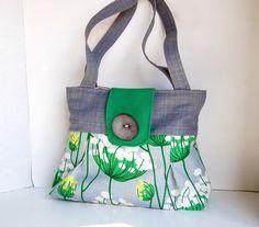 Gray+and+green+dandelion+Handbag++Malachite+by+cayennepeppybags,+$70.00