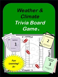 Weather Trivia Board Game from Stem Center on TeachersNotebook.com -  (17 pages)  - Weather Trivia Board Game; Climate, tropics, polar zones, temperate zones, seasons, El Nino, Ozone, CFC's, Hydrosphere, Condensation, water cycle, land breeze