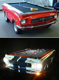 A Mustang pool table? I will save . A Mustang pool table? I will save every last penny to … Seriously? A Mustang pool table? I will save every last penny to get him one of these for his man cave! Man Cave Garage, Car Man Cave, Garage Bar, Garage Ideas, Man Cave Art, Man Cave Basement, Car Garage, Car Part Furniture, Automotive Furniture