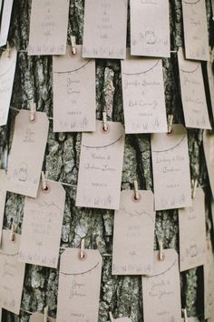 a tree trunk used to display seating cards | Photography by lovemedophotography.com | Planning by http://www.trulyyouevents.com |   Read more - http://www.stylemepretty.com/2013/08/07/philadelphia-wedding-from-love-me-do-photography/