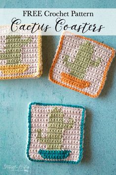 FREE Crochet Pattern: Crochet Cactus Coasters | These cute coasters feature a sweet little cactus are the perfect summer accent to your coffee table. Mix and match the pot colors to make them perfect for your home.
