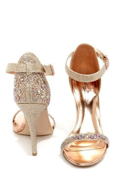 Anne Michelle Enzo 78 Rose Gold Rhinestone Ankle Strap Heels at LuLus.com!  I think I found my gold wedding shoes!!!