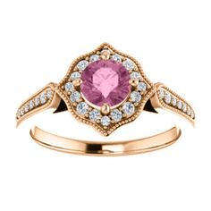 Style: 71887 Pink topaz and diamond rose gold ring...think PINK!