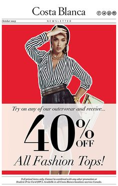 40% OFF All Fashion Tops at Costa Blanca! See in store for full details.