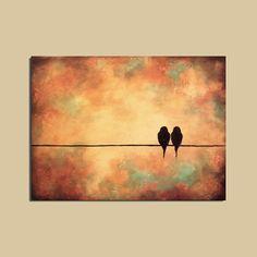sunset bird canvas wallart | Original Birds Painting 18 x 24 Rich by ContemporaryEarthArt