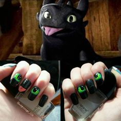 """Toothless nails!!!! #toothless #funny #silly #looknaildecor #fabulouslytrendy…"
