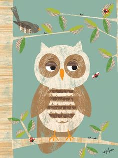 """Owl in the Woods"" baby wall art by Liza Lewis for Oopsy daisy, Fine Art for Kids $119"