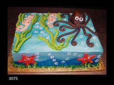 Octopus birthday cake with ocean theme