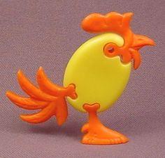 Kinder Surprise 1996 Orange & Yellow Rooster Bird Plastic Puzzle, K96N06