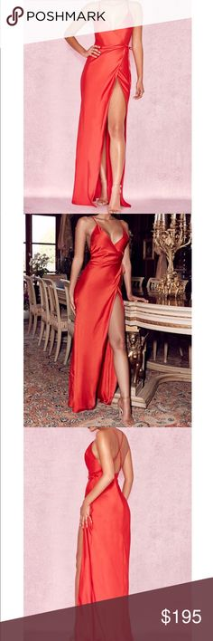 """2c8ffcfe490 House of CB """"Audreyana"""" Red Satin Wrap Maxi Dress House of CB """"Audreyana"""" Red  Satin Wrap Maxi Dress Brand New (Never Worn) Size  Small NWT Style  Wrap  Maxi ..."""