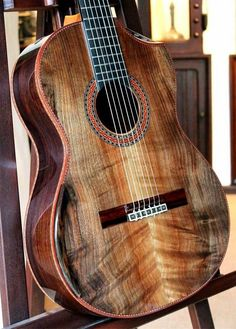 Nice old fashioned wood designed Guitar.