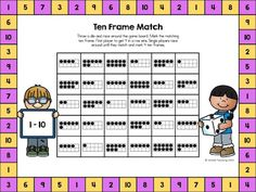 Practice identifying numbers and matching ten frames with this fun game board. Throw a die and race around the game board. Get 4 in a row and win. Games are for 1 - 2 players with color and no prep versions available.