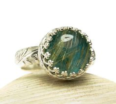 Gold Rutilated Quartz Chrysocolla Ring, Sterling Silver, Natural Stone via Etsy.