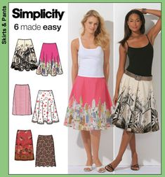 Simplicity 4236 Misses' slim full & half skirt   Misses Slim & Full and Half Circle Skirts