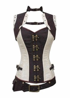 Our newest addition. Cream and Brown Steel Boned Steampunk Corset Jacket and Belt
