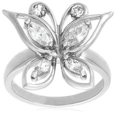 Sterling Silver Cubic Zirconia Butterfly Ring | www.RingsForMe.com/rings-online/tag/sterling/