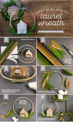 Make a simple laurel leaf wreath with an embroidery hoop and crepe paper to create a beautiful Christmas display for your home Crepe Paper Flowers, Felt Flowers, Diy Flowers, Weinachts Diy, Make Your Own Wreath, 3d Christmas, Beautiful Christmas, Xmas, Embroidery Leaf