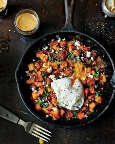 sweet potato hash feta poached eggs
