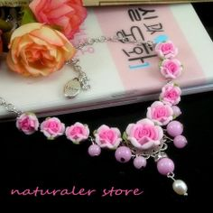 Polymer Clay Beads Imitation Pearl Necklace Pink Rose- Polymer Clay Necklace