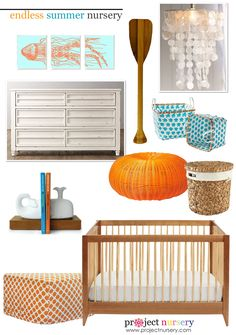 Bring the beach to your home year-round with this beach themed summer nursery design board. See if any of our picks fit your beachy nursery design. Ocean Nursery, Nautical Nursery, Nursery Room, Girl Nursery, Nursery Decor, Nursery Ideas, Baby Room, Baby Boy Nurseries, Baby Cribs