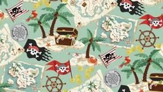 Pirates Treasure Maps by Andover Fabrics Pirate Quilt, Great Christmas Gifts, Christmas Ornaments, Pirate Treasure Chest, Andover Fabrics, Cotton Quilting Fabric, Cushion Fabric, Treasure Island, Niece And Nephew