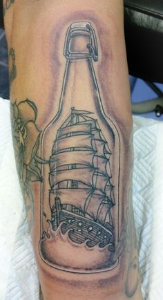 Ship in a Bottle Tattoo. For my hubby