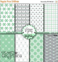 80%OFF - BIG SALE Gray and Green, Digital Paper, Commercial Use, Cute Pattern, Printable Paper, Gray, Green Paper, Planner Accessories, Back