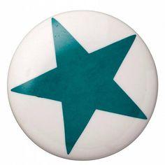 Bloomingville Deurknop keramiek blauwe ster diameter 4cm, ceramic handle star petrol