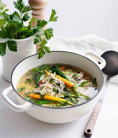 Spring chicken soup  Carb: Risoni Protein: Chicken Fat: Speck