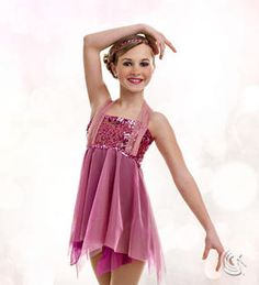 Curtain Call Costumes® - Our Time Nylon/spandex leotard with sequin embroidered bodice overlay, sequin trim, and sheer motion mesh shoulder treatment. Attached sheer motion mesh and tricot skirt. INCLUDES: sequin headband. Troupe price: $65 AUD - $70 AUD