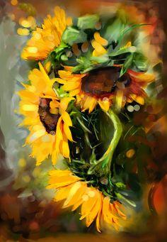 art paintings sunflowers | Girasoles Sunflowers Painting