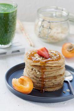 Pancakes à l'aquafaba et lait de coco Aquafaba, Pancakes Végétaliens, Pancakes Vegan, Patisserie Vegan, Patisserie Sans Gluten, Veggie Recipes, Vegetarian Recipes, Veggie Food, Gateaux Vegan