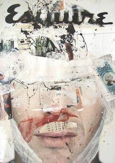 Men's Esquire Cover, collage art, illustration, painting.