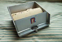 Miniature Metal File Box  Vintage by Quilted Nest