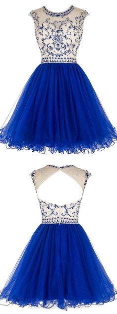Princess Illusion Royal Blue Short Prom Dress, Shining Beaded Cap Sleeves Pleats Prom Dress, Elegant Open Back A-line Tulle Prom Dress