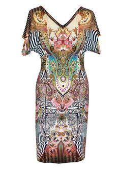 Robe en Jersey coton, robe de taille, impression de Paisley, en Plus V Neck robe, robe d