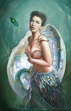 Christiane Vleugels Paintings | Realism by Christiane Vleugels | Mystical Mermaids