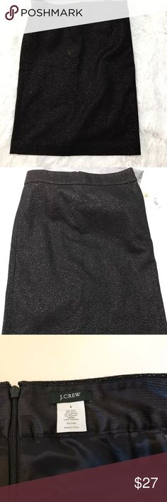 """J Crew Womens Skirt Size 8 Black Gold Sparkle J Crew Womens Skirt Size 8 Black Gold Sparkle Wool Straight Knee Lenght.  Measurements laying flat  25"""" length  16"""" waist.  Free from flaws. No stains. Smells or holes. J. Crew Skirts Pencil"""