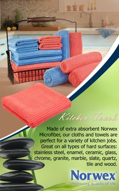 Norwex Kitchen Cloths!!! Norwex Kitchen Cloths and Towels are made of extra absorbent Norwex Microfiber. The cloths and towels are perfect for a variety of kitchen jobs. Great on all types of hard surfaces: stainless steel, enamel, ceramic, glass, chrome, granite, marble, slate, quartz, tile and wood.
