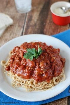 Italian Turkey Sausage and lean ground turkey are the main ingredients in this simple slow cooker meat sauce!