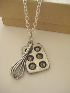 Whisk and Baking Pan Necklace in Silver FREE by GypsyBlueEyes, $15.00 for the baker!