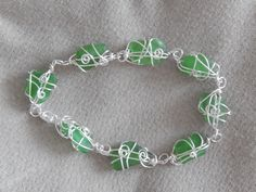 sea glass bracelet - wrapped in non-tarnish silver plated wire Tarnished Silver, Sea Glass Jewelry, Frost, Wire, Gems, Jewels, Beach, Bracelets, Jewerly