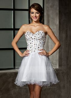 A-Line Princess Sweetheart Short Mini Satin Tulle Homecoming Dress With  Beading Sequins - JJsHouse 7ddb717fb