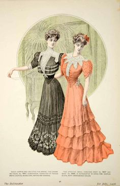 1906 Offset Lithograph Delineator Edwardian Ladies Art Nouveau Fashion Chiffon