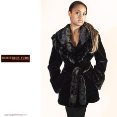 aadad36ad6e Black Sheared Mink Rose Jacket with Unsheared Large Shawl Collar with  Ruffle Tiers and Unsheared Mink Cuffs Size 8 Pockets Fully Lined Unsheared  Mink Belt ...