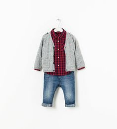 Gray Knitted Cardigan, Baby red Flannel, checkered turn up jeans | Zara