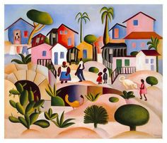 Slum(1924) - Oil on Canvas - Tarsila do Amaral.