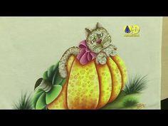 Vida com Arte | Pintura Country Abóbora com Gato por Eliana Rolim - 26 d...