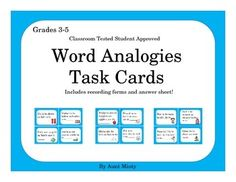 My students absolutely love this center activity!  This download contains 32 student friendly analogies that can be used as an individual center activity, partner activity, or small group activity.  Students use the provided answer sheets to record their answers then self check with the included answer key.Easy to prepare: simply print off the cards on card stock, cut them apart, and put them in centers.